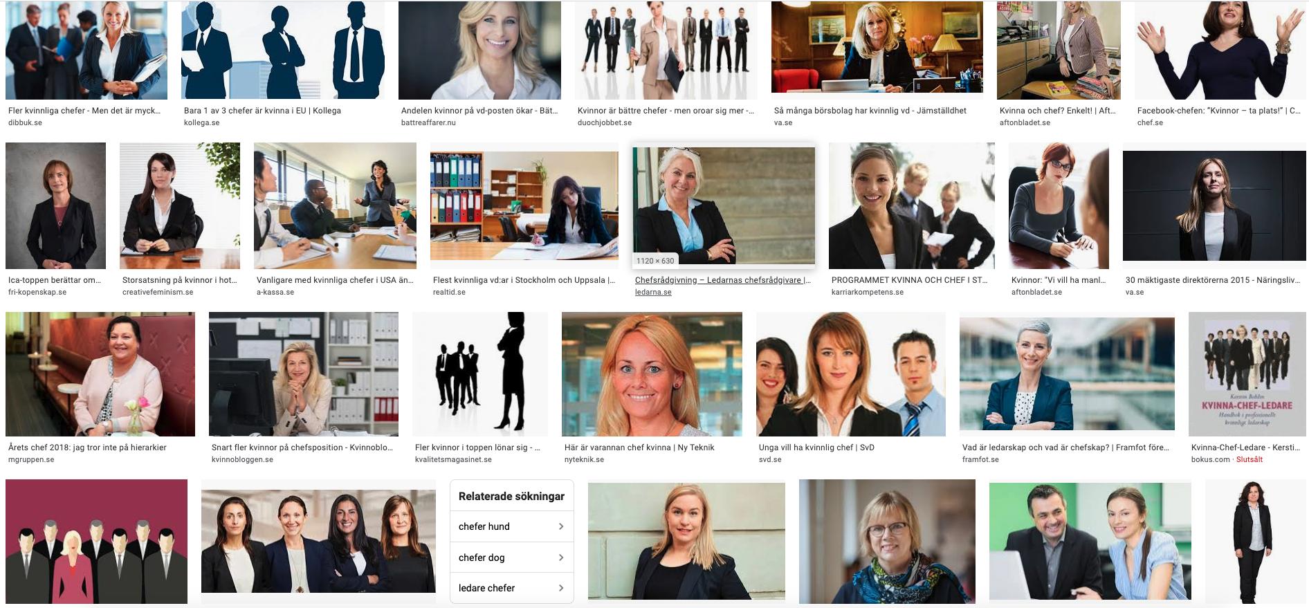stereotypa bilder på chefer som är kvinnor