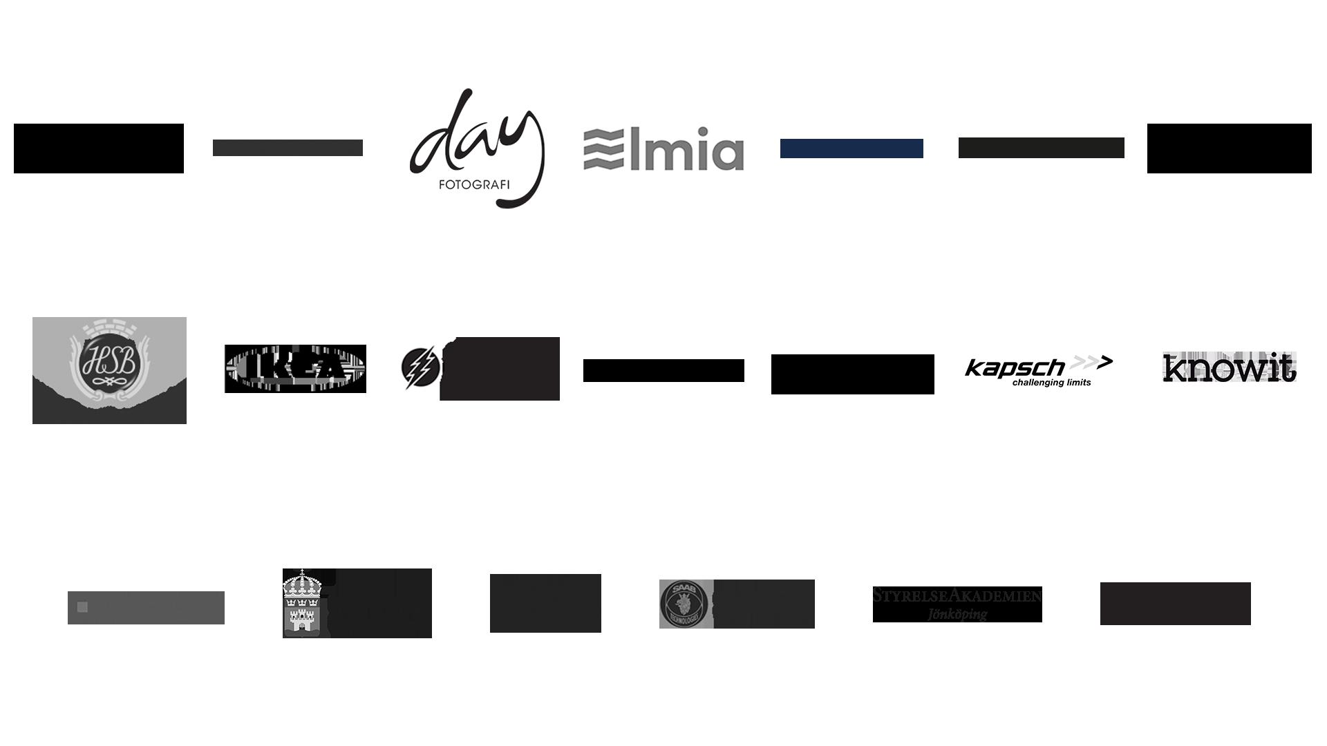 Logotyper från Årets unga ledande kvinnas partnerföretag